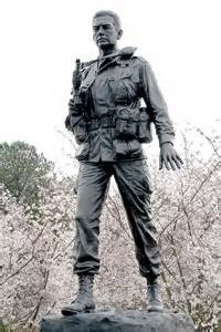 "Major Richard ""Dick"" J. Meadows. This 8 foot bronze statue of his image now stands on the Meadows Memorial Parade Field located at Fort Bragg, North Carolina."